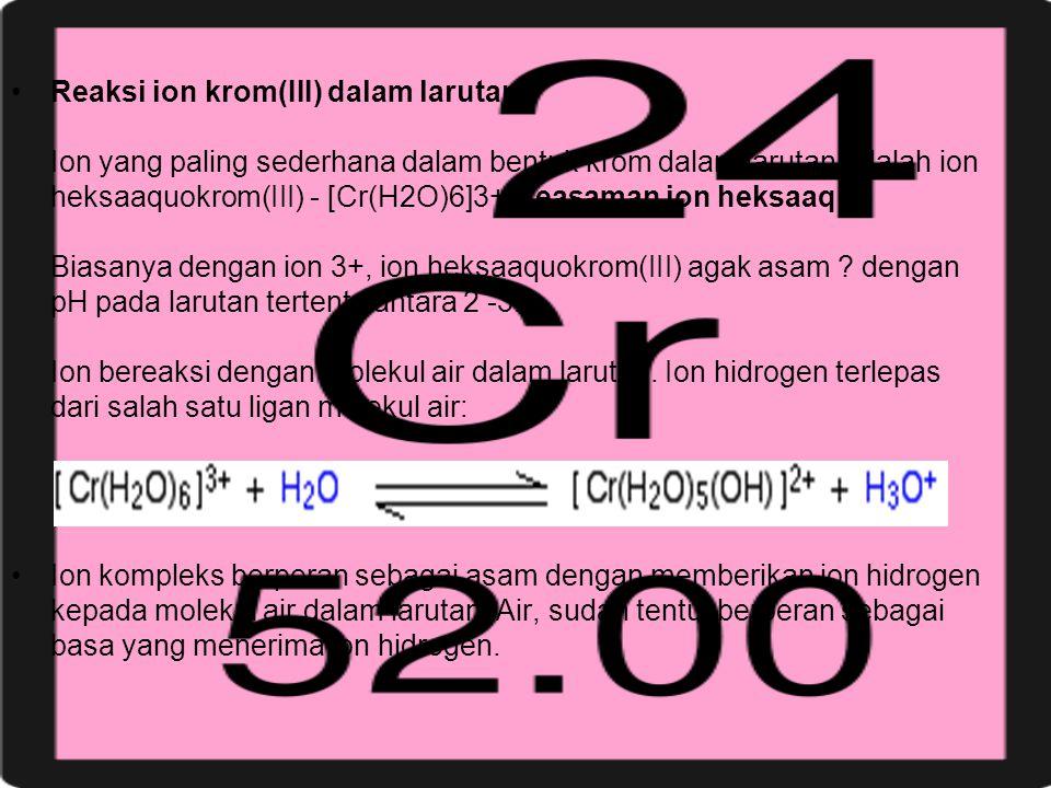 Reaksi ion krom(III) dalam larutan Ion yang paling sederhana dalam bentuk krom dalam larutan adalah ion heksaaquokrom(III) - [Cr(H2O)6]3+.Keasaman ion heksaaquo Biasanya dengan ion 3+, ion heksaaquokrom(III) agak asam dengan pH pada larutan tertentu antara 2 -3. Ion bereaksi dengan molekul air dalam larutan. Ion hidrogen terlepas dari salah satu ligan molekul air: